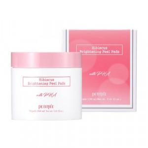 УЦЕНКА! (Помятая упаковка) Осветляющие пилинг-пады с гибискусом и дамасской розой PETITFEE Hibiscus Brightening Peel Pads 70шт