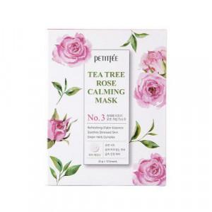 Успокаивающая маска для лица с экстрактом чайного дерева и розы PETITFEE Tea Tree Rose Calming Mask 25g - 1 шт