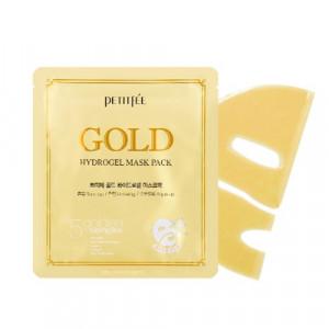 Гідрогелева маска для обличчя з золотим комплексом +5  PETITFEE Gold Hydrogel Mask Pack +5 golden complex 32g - 1шт
